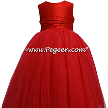 CHRISTMAS RED TULLE flower girl dresses