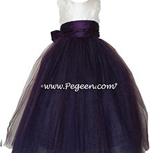 Antique White and deep plum and Antique White Tulle ballerina style FLOWER GIRL DRESSES with layers and layers of tulle