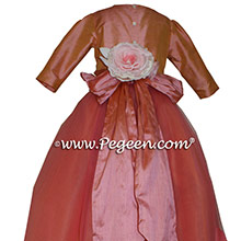 Icing and Coral Rose ballerina style Flower Girl Dresses with layers and layers of tulle
