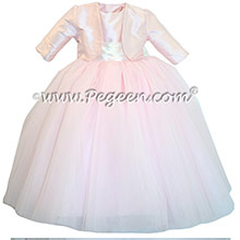 Peony Pink crystal tulle Flower Girl Dresses with Bolero Jacket