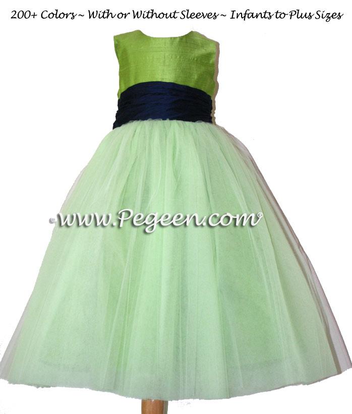 Custom Silk Flower Girl Dresses in Apple Green, Navy Sash and Tulle