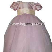 Flower girl Dresses in Light Plum with a Special Back Flower