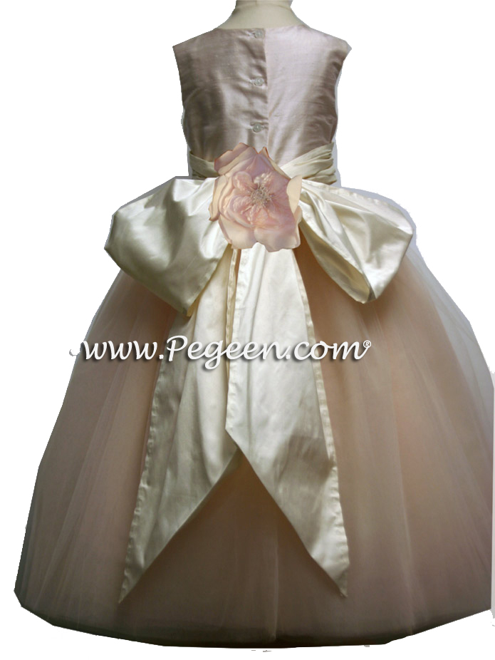 Couture flower girl dress with layers of tulle - Degas Style - in Pink shades