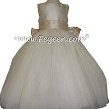 Ivory and Oatmeal Tulle ballerina style Flower Girl Dresses