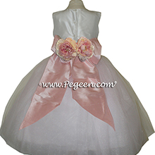 Petal pink tulle with bisque creme sash flower girl dress