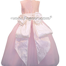 Baby Pink and Antique White ballerina style Flower Girl Dresses with Tulle ~ Pegeen Couture Style 402