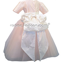 Champagne Pink and Antique White ballerina style FLOWER GIRL DRESSES with layers of tulle and 3/4 Sleeves ~ Pegeen Couture Style 402