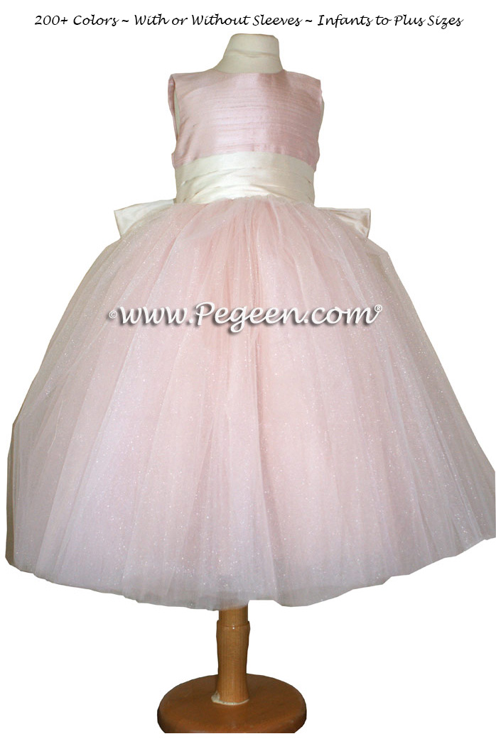 Flower Girl Dress in Ballet Pink with Crystal Tulle, Heaven Rose | Pegeen