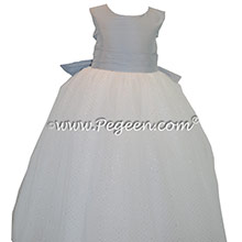 Custom Powder blue and antique white silk TULLE SILK FLOWER GIRL DRESSES with glitter tulle and a Cinderella Bow with layers and layers of tulle