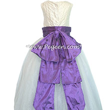 Amethyst and New Ivory and Amethyst ballerina  style with Pegeen Signature Bustle with layers and layers of tulle
