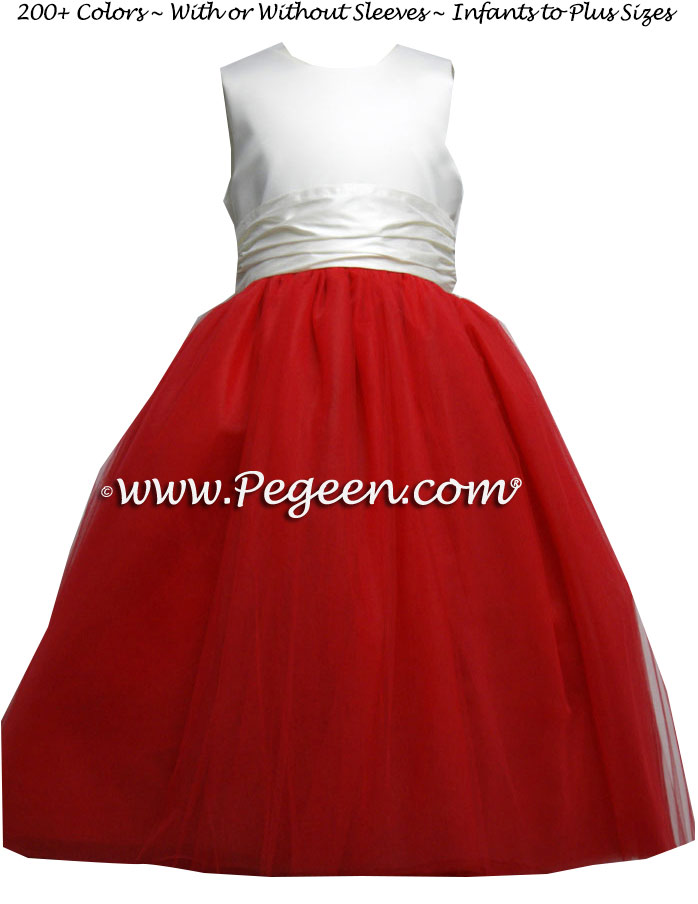 Red & Ivory tulle Flower girl dresses by Pegeen.com