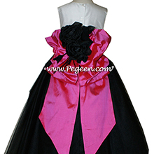 Pegeen Flower Girl Dresses in Black, Shock Pink, Antique White Silk and our special, Pegeen Signature Bustle and Flowers