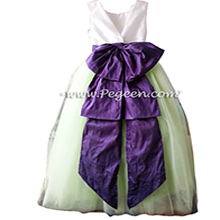 Flower Girl Dresses with tulle in sprite green and Royal Purple Silk