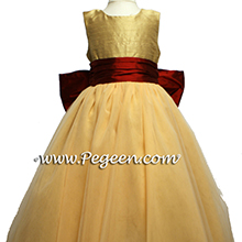 SPUN GOLD AND CLARET RED TULLE flower girl dresses