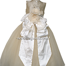 Toffee and ivory tulle flower girl dress