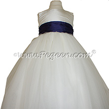 Tulle in Antique White Tulle and Deep Plum ballerina style Flower Girl Dresses with layers and layers of tulle by Pegeen