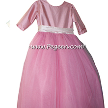 Blush Pink and Woodrose (coral) and orange shades ballerina style Flower Girl Dresses with layers and layers of tulle