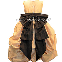 SPUN GOLD AND  black puDDLE DRESS WITH SLEEVES JR BRIDESMAIDS DRESSES