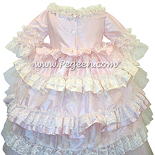 Petal Pink and Bisque Ruffled Layers and Glitter Tulle Nutcracker Dress or Flower Girl Dress Style 405 by Pegeen Couture