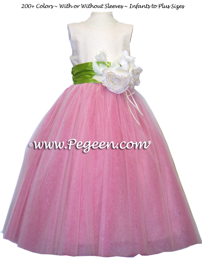 Ballerina style flower girl dress with apple green sash and pink layers of tulle