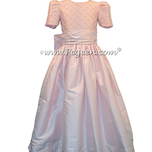 Petal Pink Silk Flower Girl Dresses with Trellis and Pearled Bodice