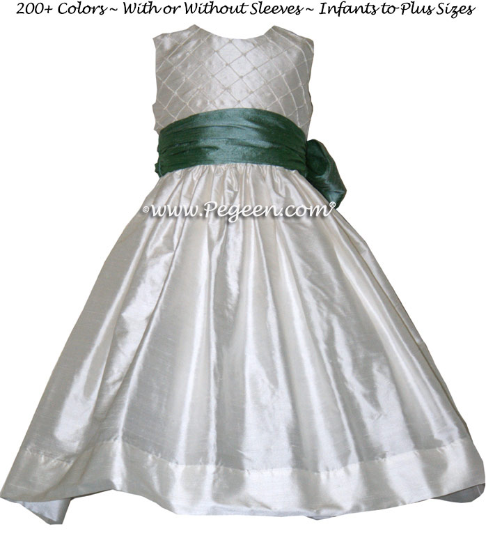 Waterfall teal and antique white custom flower girl for Waterfall design dress