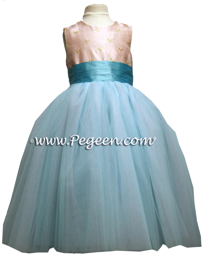Tiffany blue and light pink embroidered with tiny rosebuds  ballerina style FLOWER GIRL DRESSES with layers and layers of tulle
