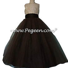 Spun Gold and Chocolate Brown Silk aloncon Lace Tulle flower girl Dresses
