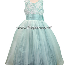 Pacific (light aqua) tulle flower girl dresses