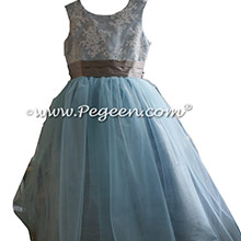 Steele Blue and Wolf Gray Silk aloncon Lace Tulle flower girl Dresses