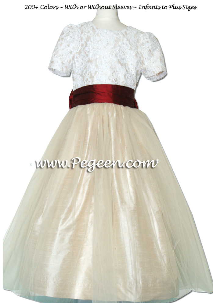 BISQUE AND CLARET RED ALONCON LACE CUSTOM FLOWER GIRL DRESSES WITH TULLE