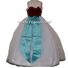 Tiffany blue and white flower girl dress