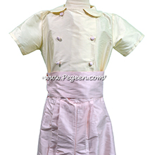 Bisque and Peony Silk Flower Girl Dresses with Ringbearer Suit