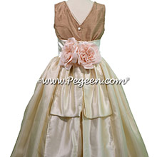 Antigua Taupe Dupione and Buttercream Charmeuse flower girl dresses by PEGEEN