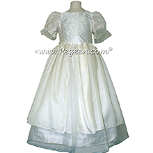 The Guinevere in Antique White from the Regal Collection - A special collection of flower girl dresses fit for royalty