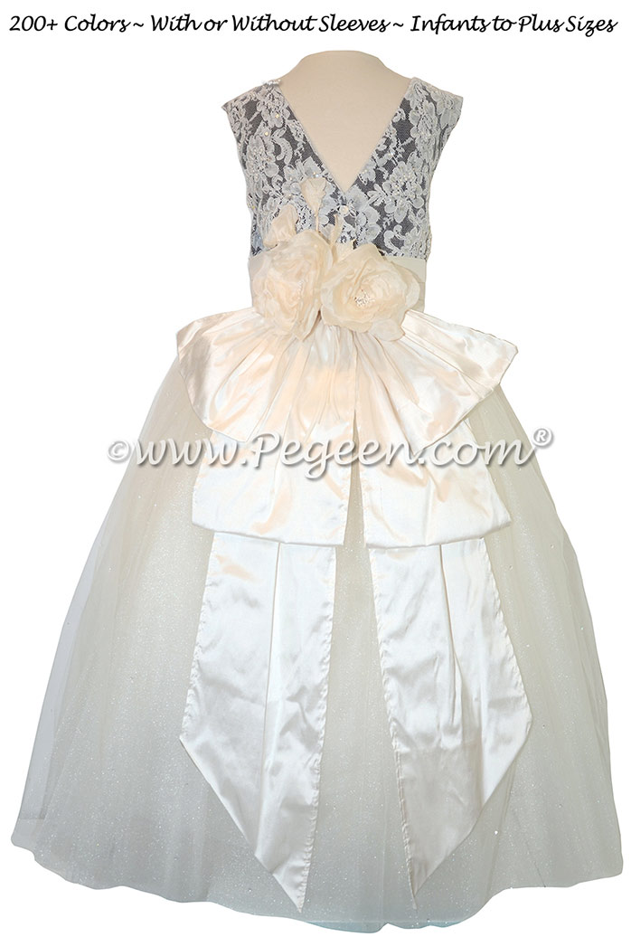 Antique New Ivory and Eggplant ballerina style Flower Girl Dresses with layers and layers of tulle
