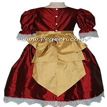 Claret Red and Goldenrod Nutcracker Party Scene Dress Style 745 by Pegeen