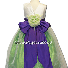 lime green and purple silk flower girl dresses
