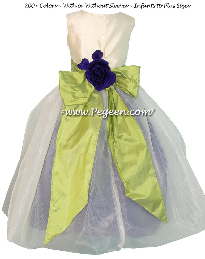 Royal purple and sprite green with amethyst tulle Infant flower girl dresses