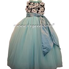 Flower Girl Dresses in Tiffany Blue Custom Tulle Black and White Damask