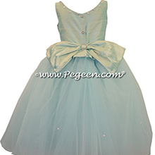 Swarovski Crystals, Crystal Tulle and Silk Flower Girl Dresses in Aqualine with Crystals
