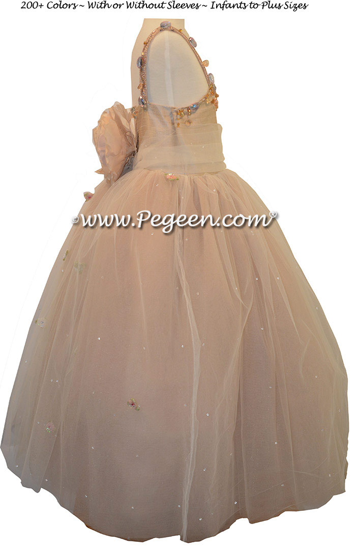 Cotillion or Couture Topaz Fairy Flower Girl Dress w/Tulle, Dew Drop crystal tulle and crystal jewels Style 904