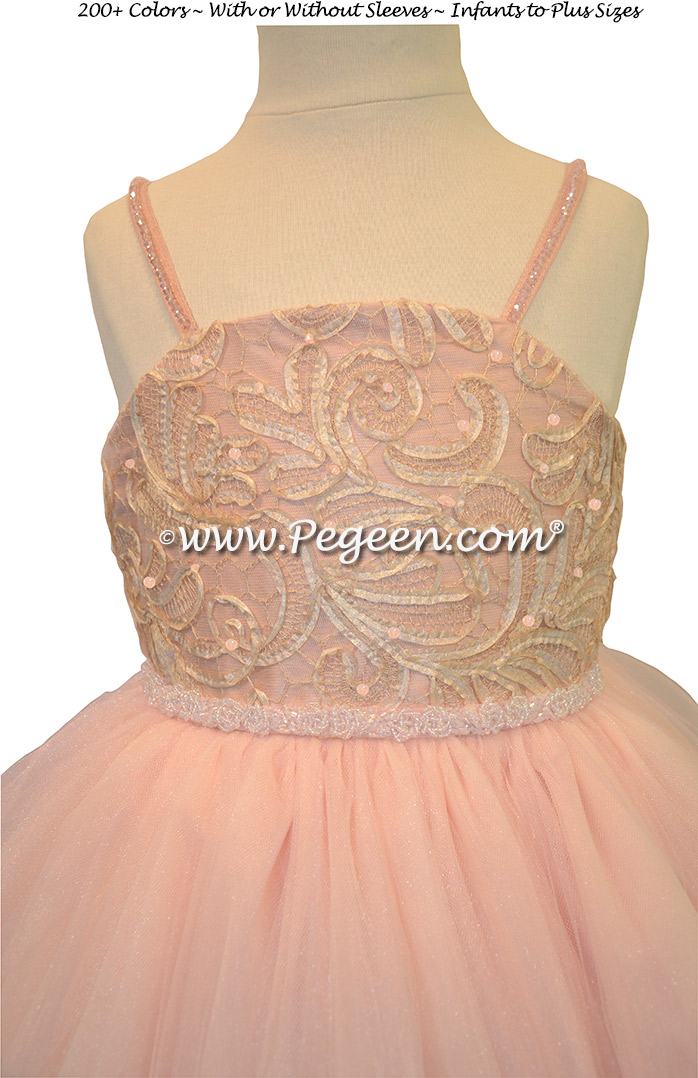 Morganite Silk with Crystals - Our Morganite Fairy Flower Girl Dresses Style 905