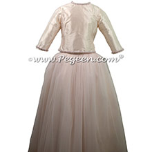 Petal Pink and Champagne Tulle ballerina style Jr. Bridesmaids Dress from Pegeen Couture - Part of the Pegeen Tween Collection