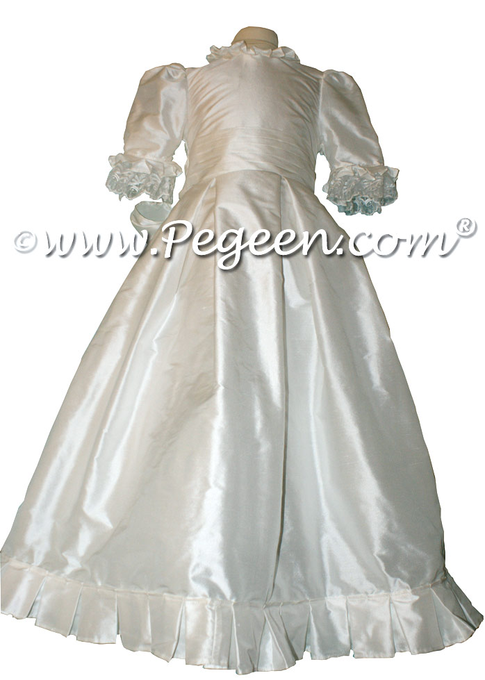 White Silk Customon First Holy Communion Dress with Monogramming