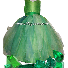 Emerald Silk with Separate Tutu Skirt - Our Emerald Fairy Flower Girl Dresses Style 901