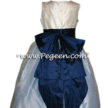 CUSTOM FLOWER NAVY AND DENIM BLUE GIRL DRESSES