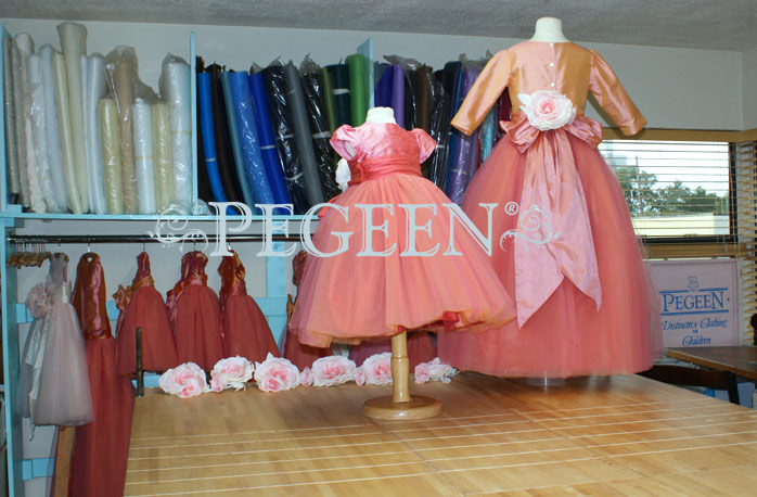 Pegeen's Grapefruit and sherbet and orange shades of silk and Tulle Degas Style FLOWER GIRL DRESSES with 10 layers of tulle