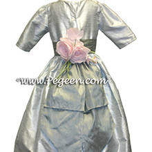Platinum and Medium Gray Silk flower girl dresses with 3/4 sleeves