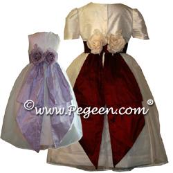 Flower Girl Dresses 313 shown in shock & tangerine